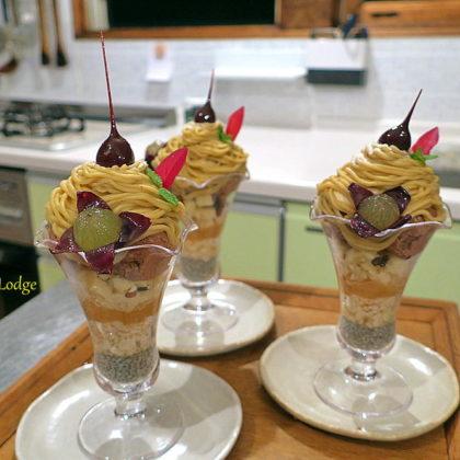 やっぱり豪華な山栗チョコアイスの山栗モンブランパフェ