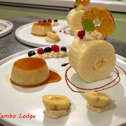 バナナロールケーキとカスタードプリン