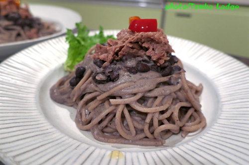 黒インゲン豆クリームのパスタ