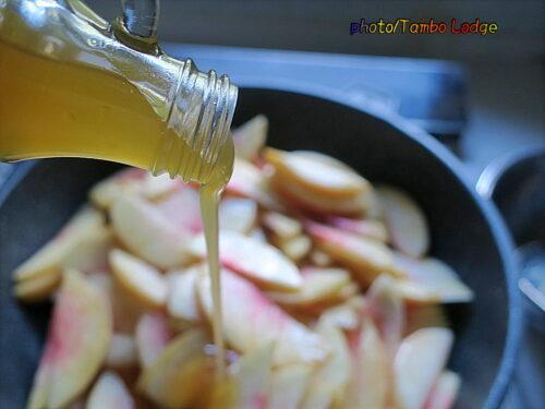低農薬の桃の加工